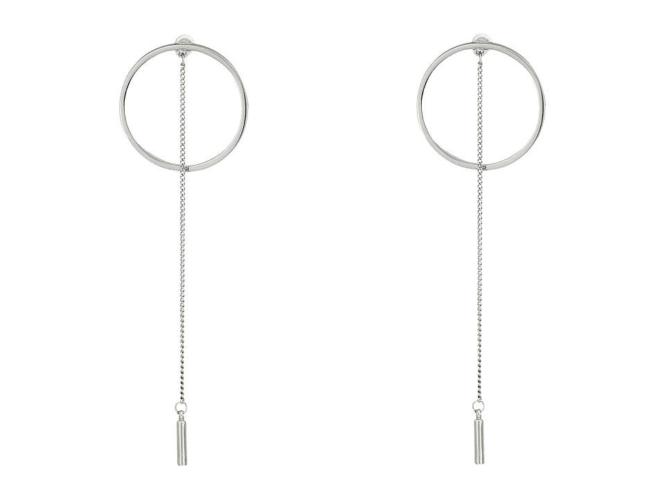 Steve Madden - Short Ring with Chain Post Earrings (Rhodium) Earring