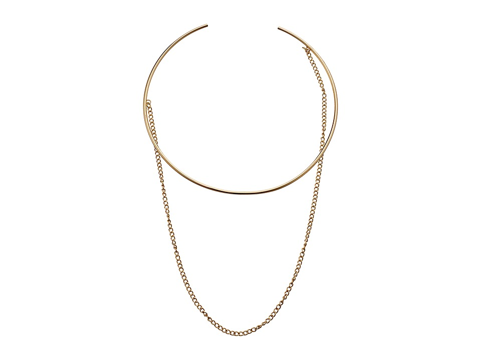 Steve Madden - Open Collar with Chain Choker Necklace (Gold) Necklace