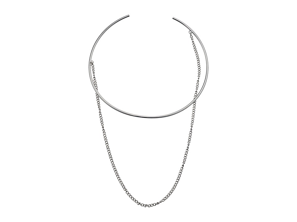 Steve Madden - Open Collar with Chain Choker Necklace (Rhodium) Necklace