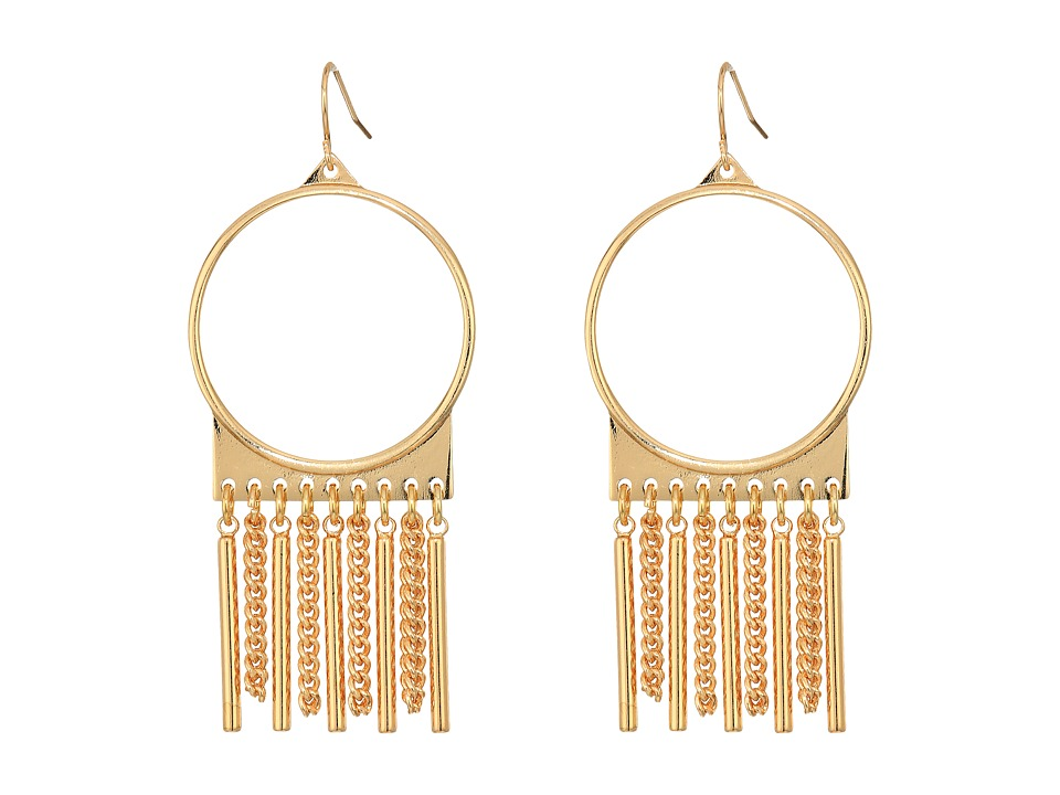Steve Madden - Ring with Chain Fringe Fish Hook Earrings (Gold) Earring