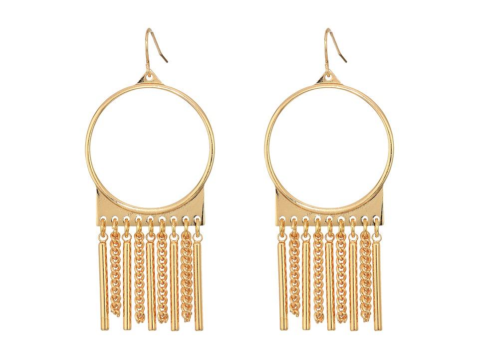 Steve Madden - Ring with Chain Fringe Fish Hook Earrings (Gold) Earring