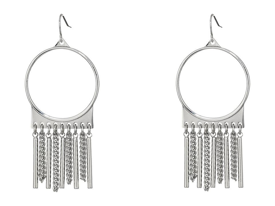 Steve Madden - Ring with Chain Fringe Fish Hook Earrings (Rhodium) Earring