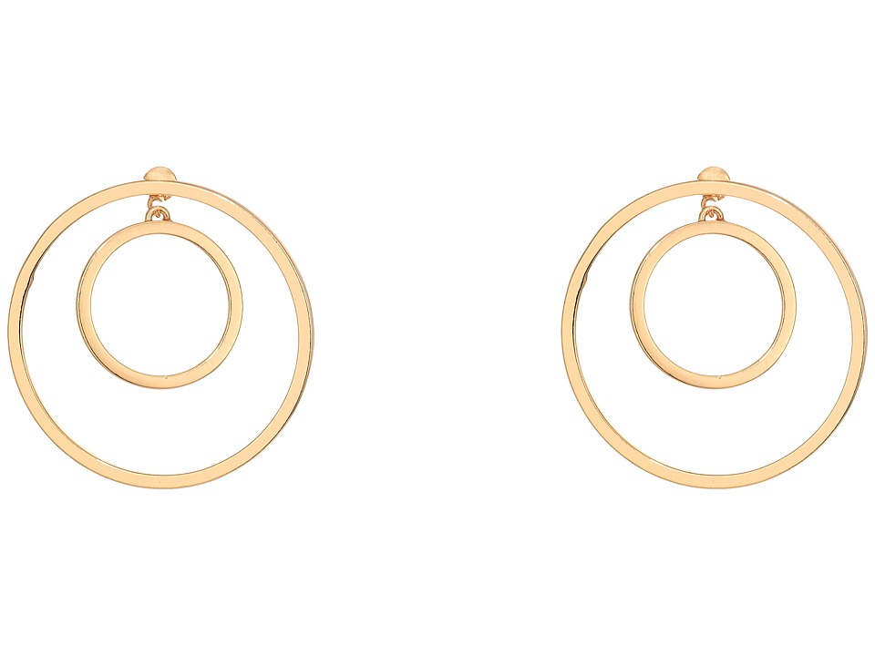 Steve Madden - Double Ring Front to Back Earrings (Gold) Earring