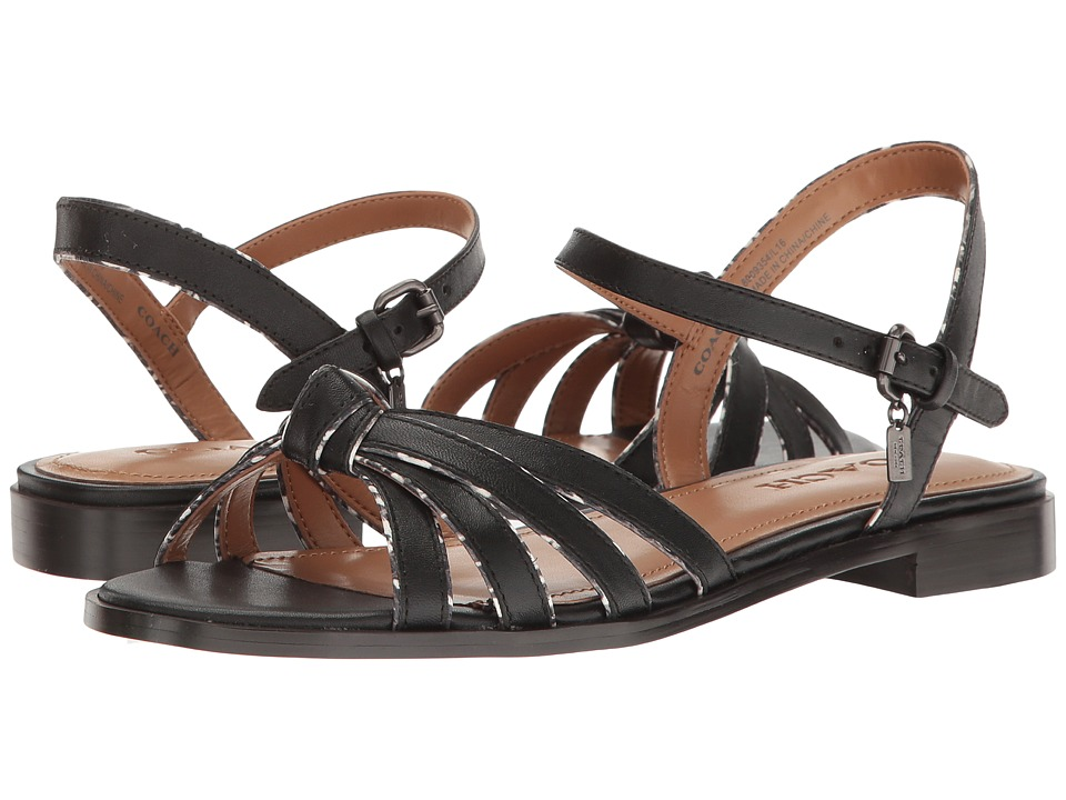 COACH - Sophia (Black Soft Calf/Black/White Land Snake) Women's Sandals