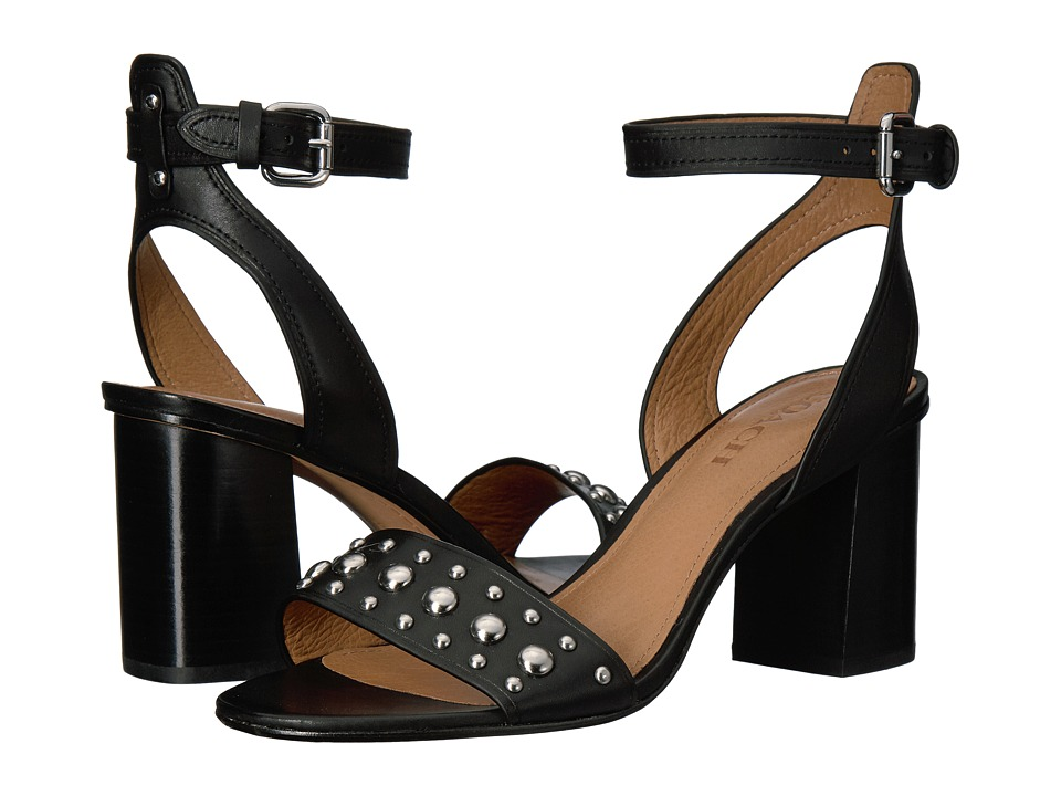 COACH - Paige (Black Studded Matte Calf/Black Calf) Women's Sandals