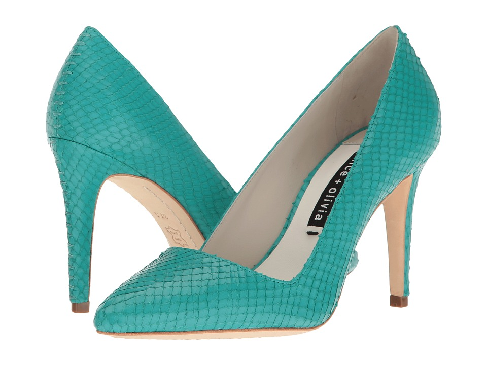 Alice + Olivia - Dina 95 (Turquoise Snake Print) Women's Shoes