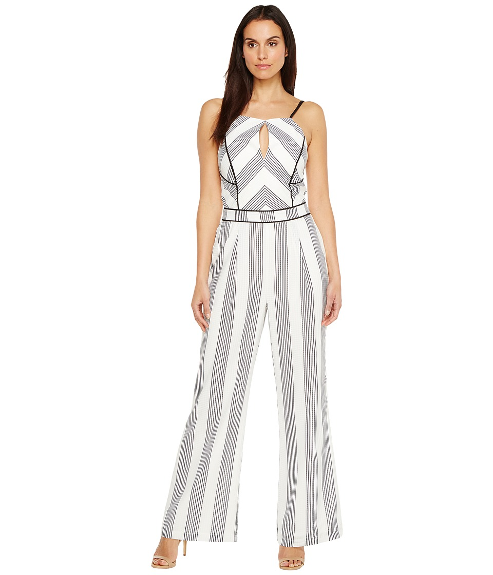 Adelyn Rae - Vidette Woven Jumpsuit (White/Black) Women's Jumpsuit & Rompers One Piece