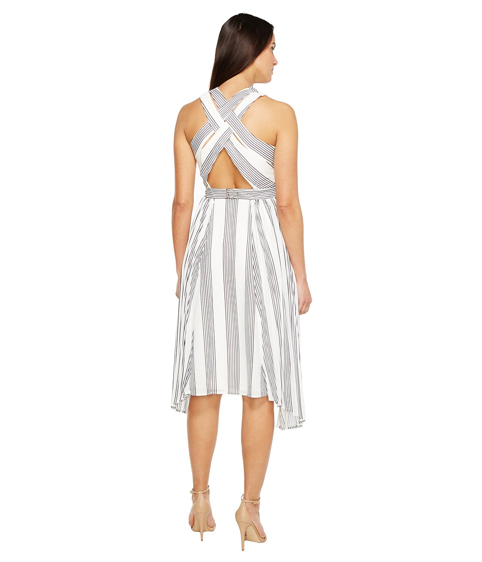 Adelyn Rae - Vidette Woven Pleated Dress (White/Black) Women's Dress