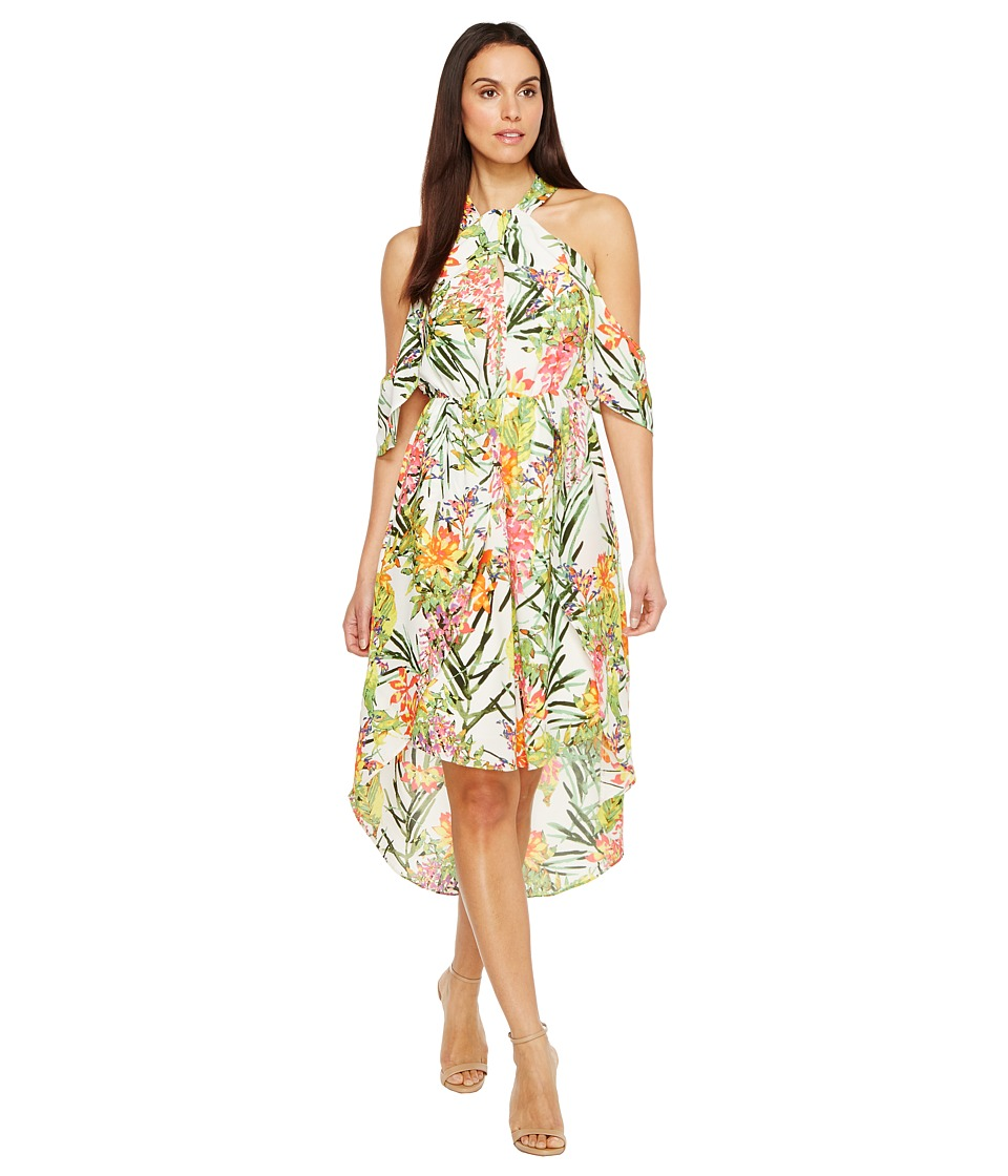 Adelyn Rae Leanna Woven High-Low Dress (White/Green) Women
