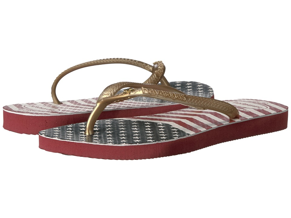 Havaianas Kids Slim Chevron Stars and Stripes Sandals (Toddler/Little Kid/Big Kid) (Red) Girls Shoes