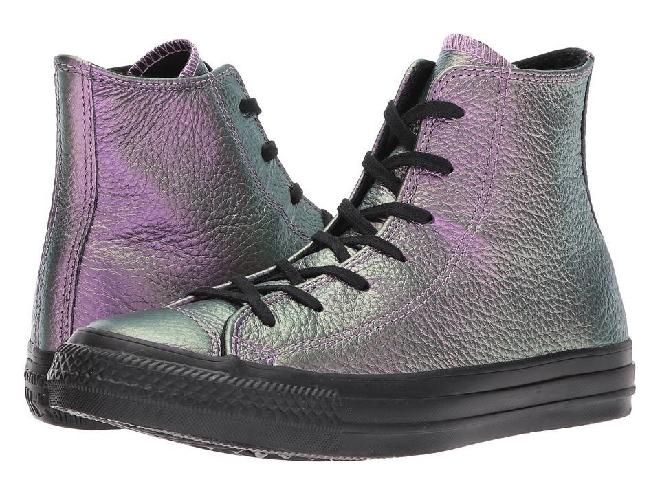 Converse Chuck Taylor(r) All Star(r) Iridescent Leather Hi (Violet/Black/Black) Women