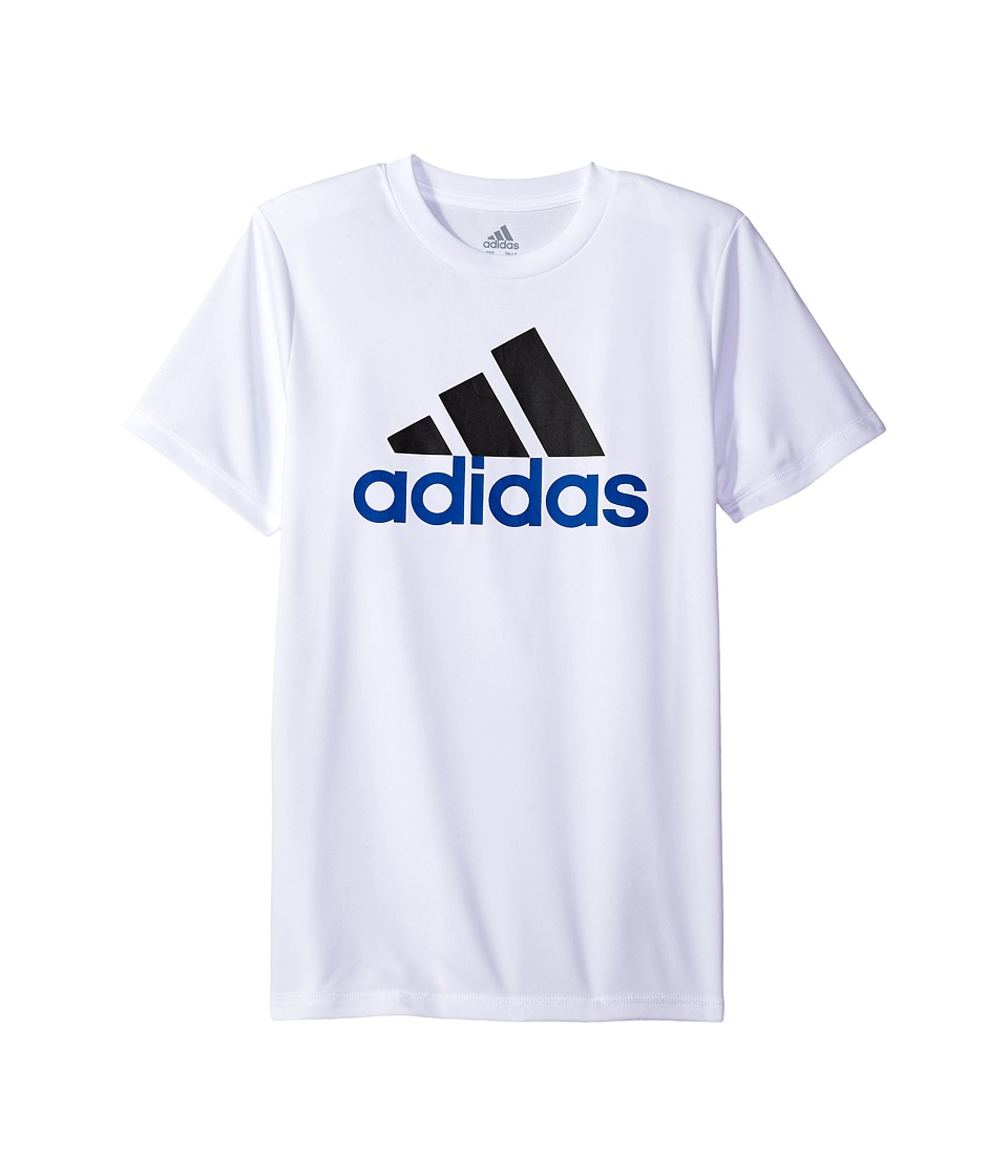adidas Kids - CLIMA Performance Logo Tee (Big Kids) (White) Boy's Short Sleeve Pullover