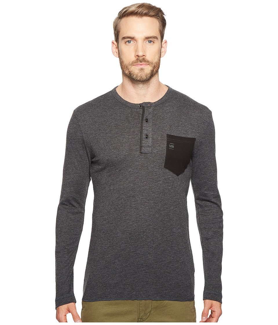 G-Star - Classic Granddad Pocket R T Long Sleeve (Black) Men's Long Sleeve Pullover