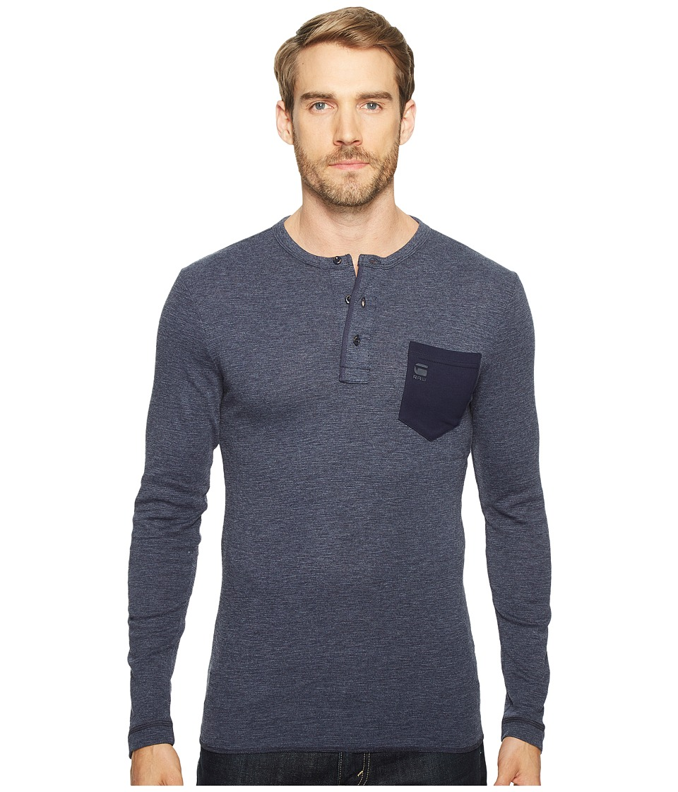 G-Star - Classic Granddad Pocket R T Long Sleeve (Dark Police Blue) Men's Long Sleeve Pullover