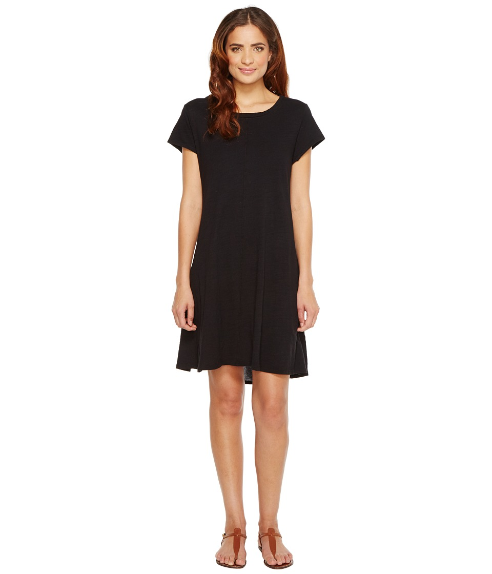 HEATHER - Cotton Gauze Panel Back Tee Dress (Black) Women's Dress