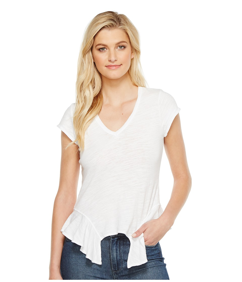 HEATHER - Cleo Cotton Slub V-Neck Peplum Tee (White) Women's T Shirt