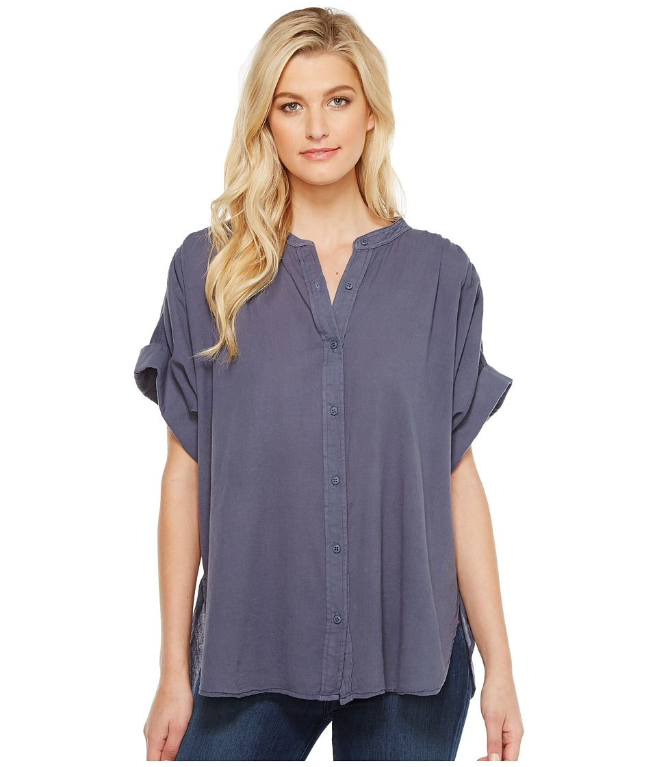 HEATHER - Twill Voile Cuffed Sleeve Button Down Top (Canal) Women's Clothing