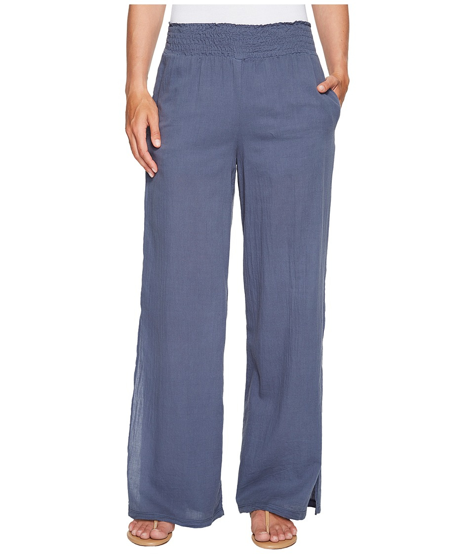 HEATHER - Janis Twill Voile Split Side Wide Leg Pants (Canal) Women's Clothing