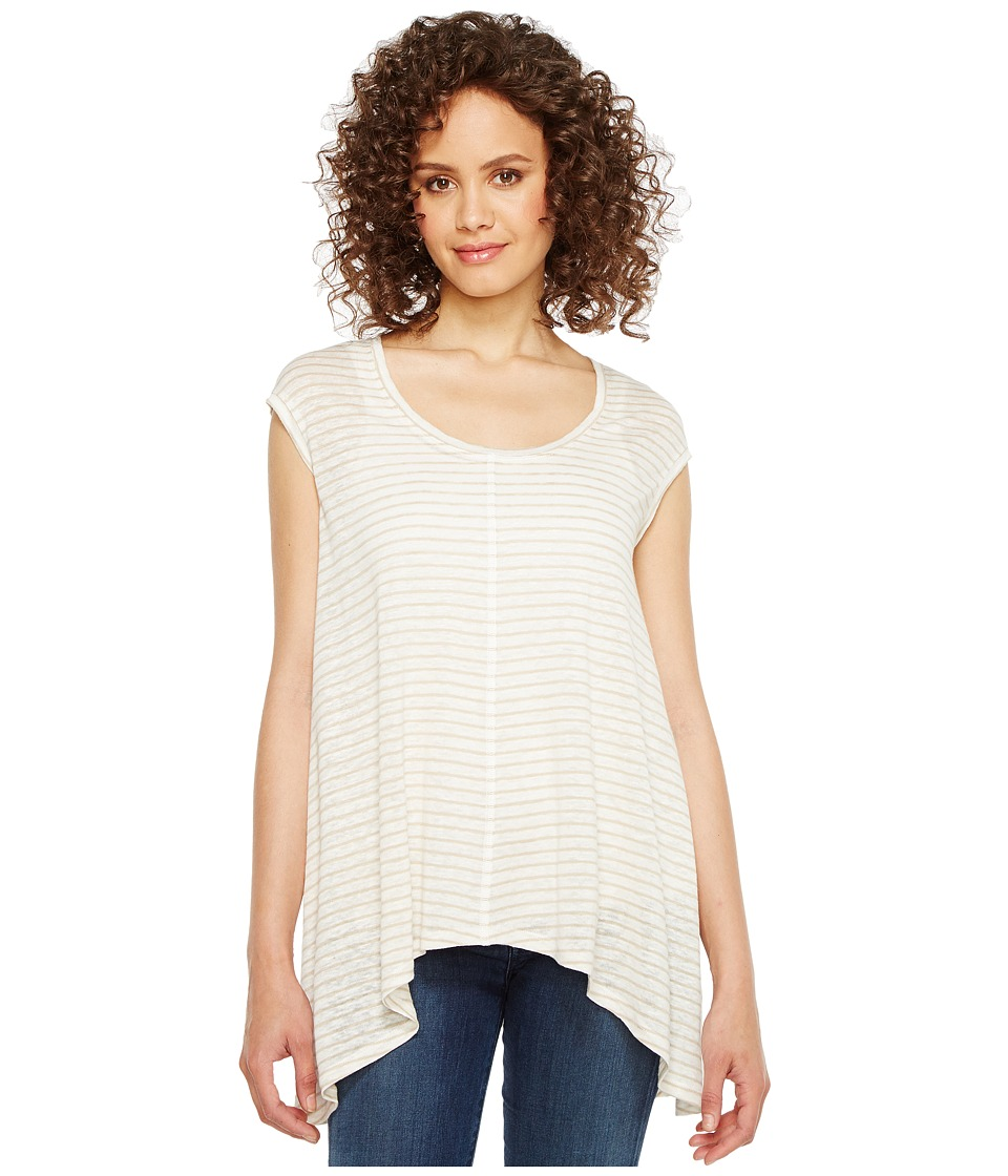 HEATHER - Kalliope Linen Shark Bite Tank Top (Natural Stripe) Women's Sleeveless