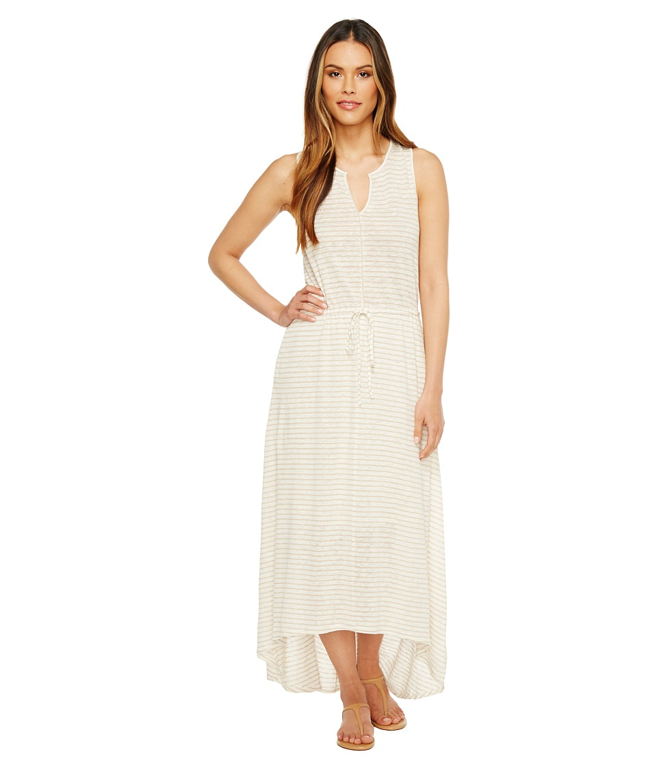 HEATHER - Grace Linen Grecian Maxi Dress (Natural Stripe) Women's Dress