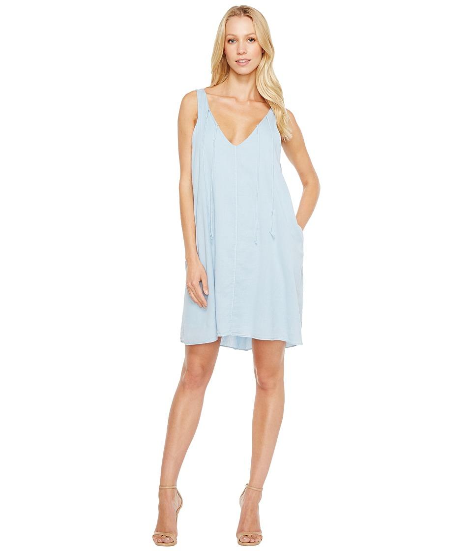 HEATHER - Maryann Twill Voile V-Neck Tie Dress (Cruiser) Women's Dress