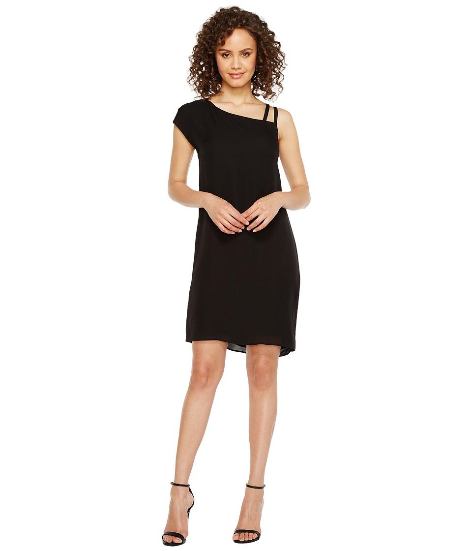 HEATHER - Bette Asymmetrical Shoulder Tie Dress (Black) Women's Dress