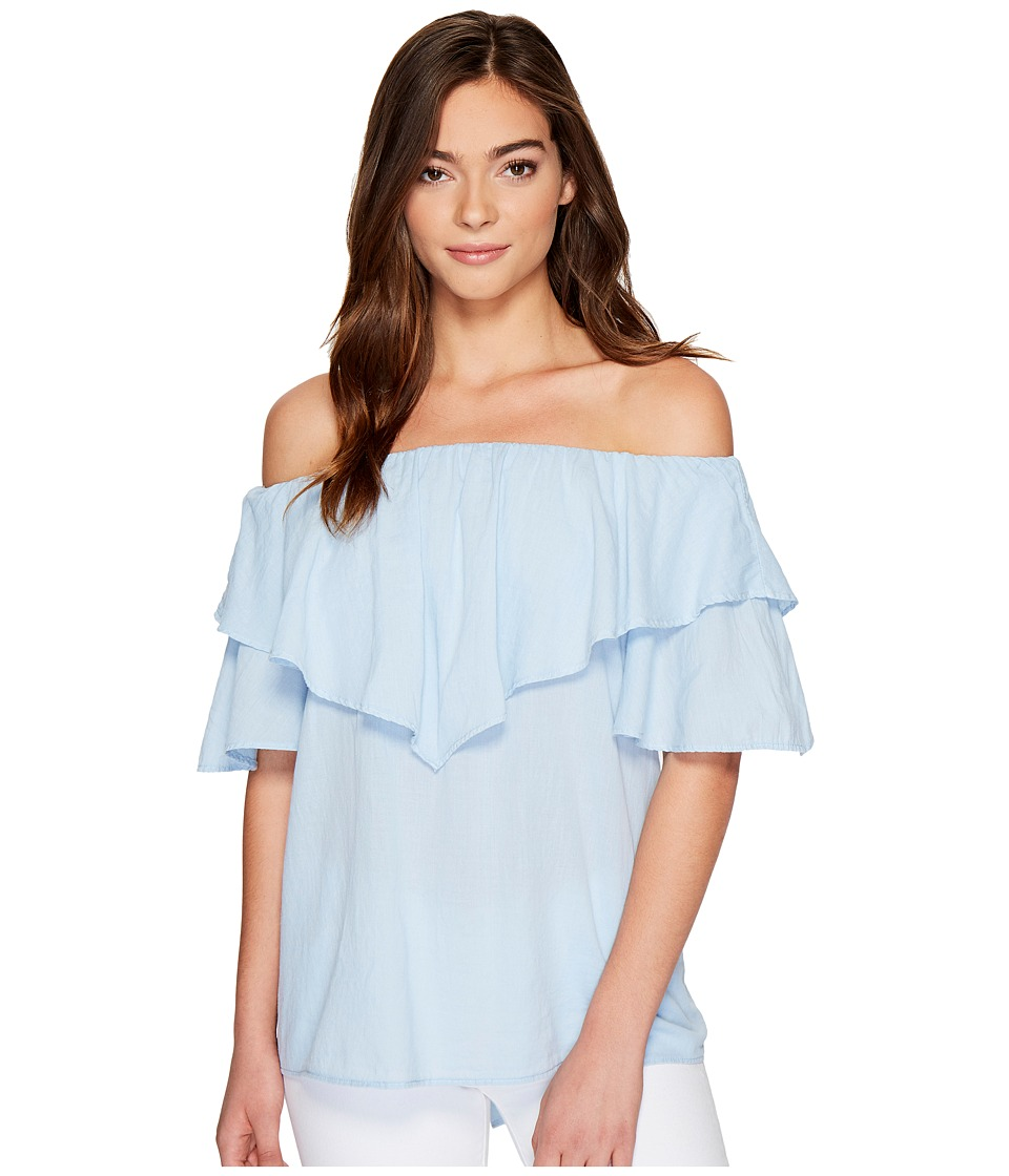 HEATHER - Maria Twill Voile Ruffle Off the Shoulder Top (Cruiser) Women's Clothing