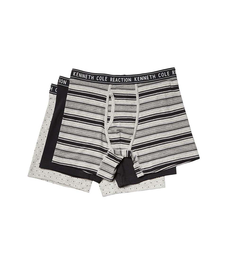 Kenneth Cole Reaction - 3-Pack Boxer Brief (Light Heather Grey Stripe/Black/Heather Grey) Men's Underwear