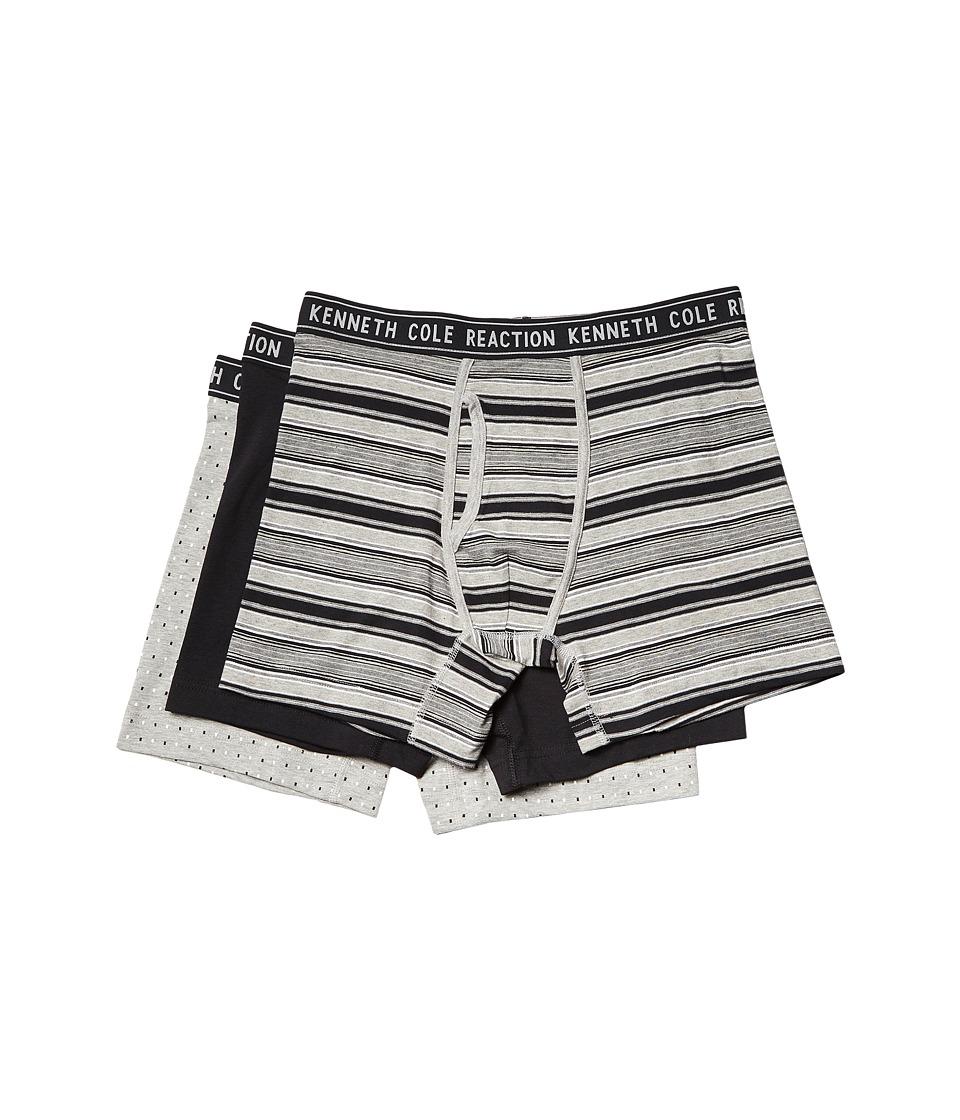 Kenneth Cole Reaction - 3-Pack Boxer Brief (Light Heather Grey Stripe/Black/Heather Grey) Men's Underwear