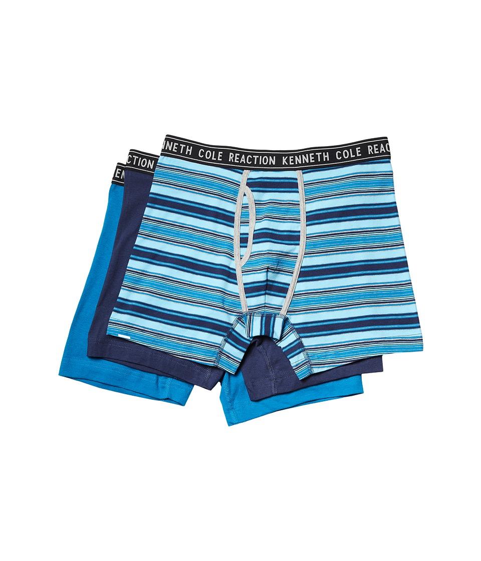 Kenneth Cole Reaction - 3-Pack Boxer Brief (Blue Stripe/Medieval Blue/Mykonos Blue) Men's Underwear