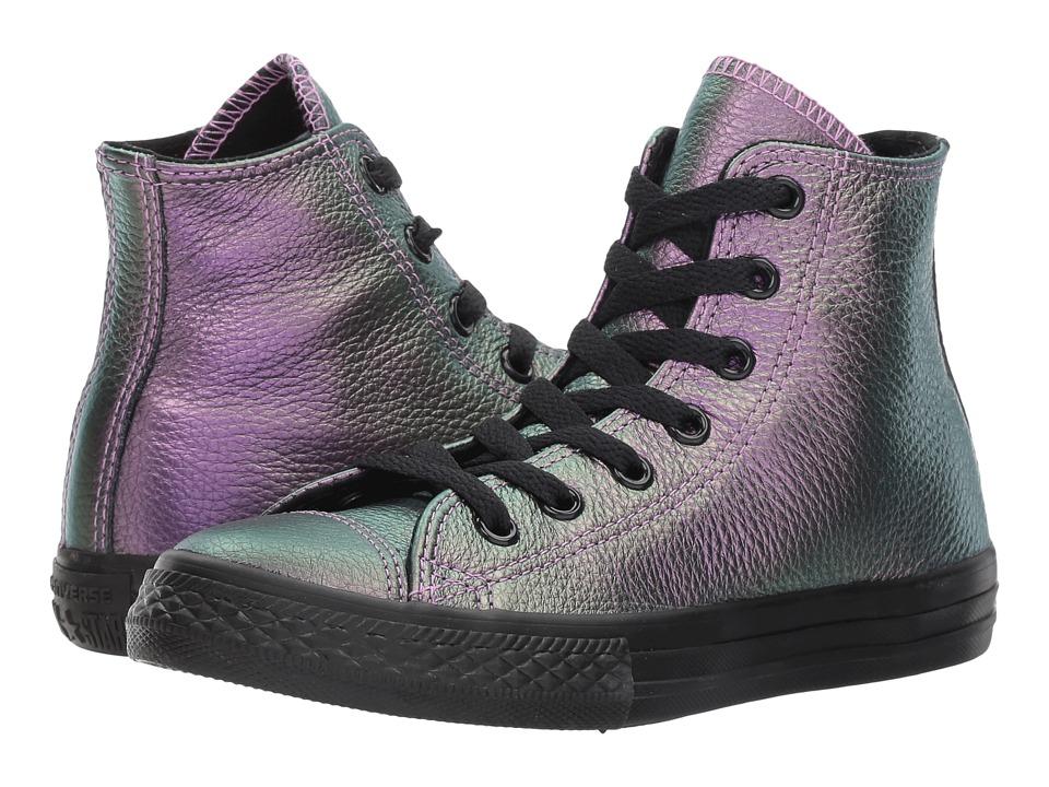 Converse Kids Chuck Taylor All Star Iridescent Leather Hi (Little Kid) (Violet/Black/Black) Girl