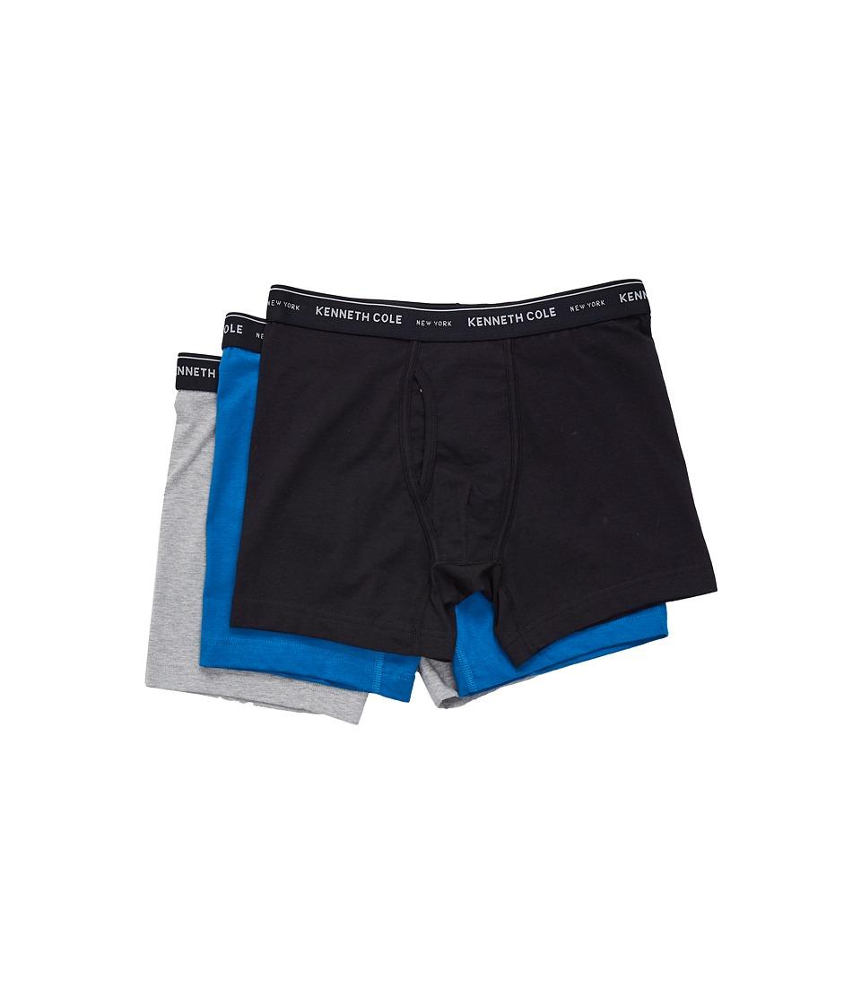 Kenneth Cole Reaction - Boxer Brief (Black/Mykonos Blue/Light Heather Grey) Men's Underwear