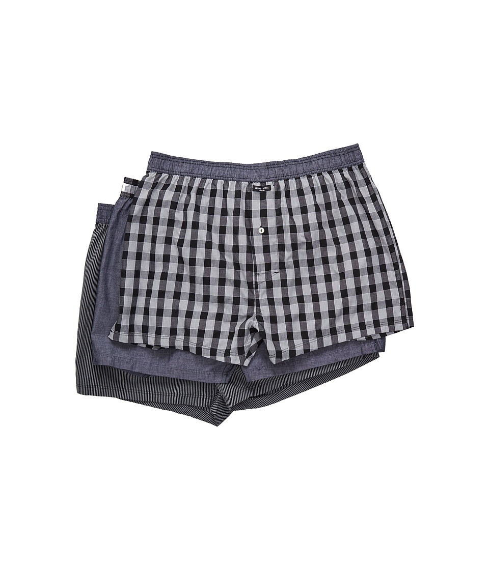 Kenneth Cole Reaction - Woven Boxer Set (Black Box Plaid/Black Chambray/Black Pinstripe) Men's Underwear