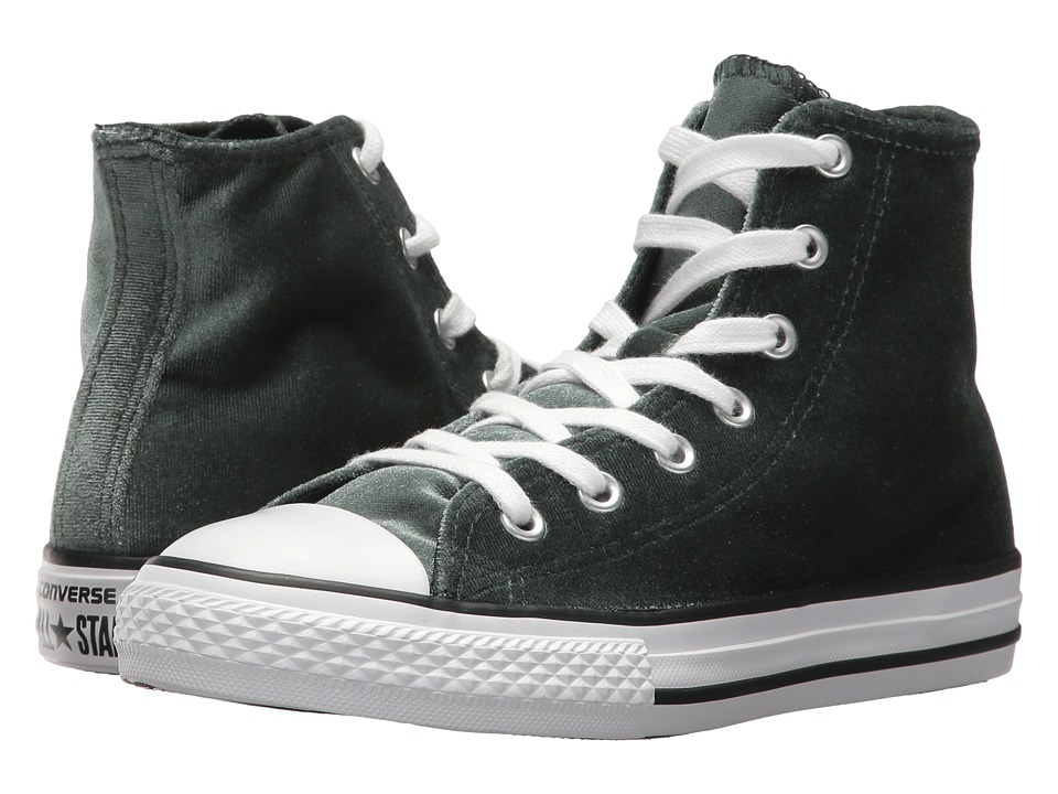 Converse Kids Chuck Taylor All Star Velvet Hi (Little Kid/Big Kid) (Deep Emerald/White/White) Girls Shoes