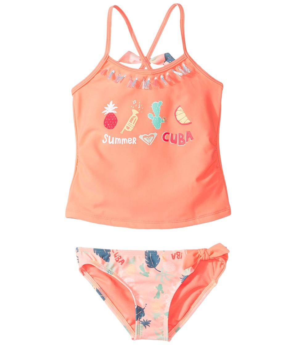 Roxy Kids - Sandy Break Tankini Set (Toddler/Little Kids) (Peach Nectar Exotic) Girl's Swimwear Sets