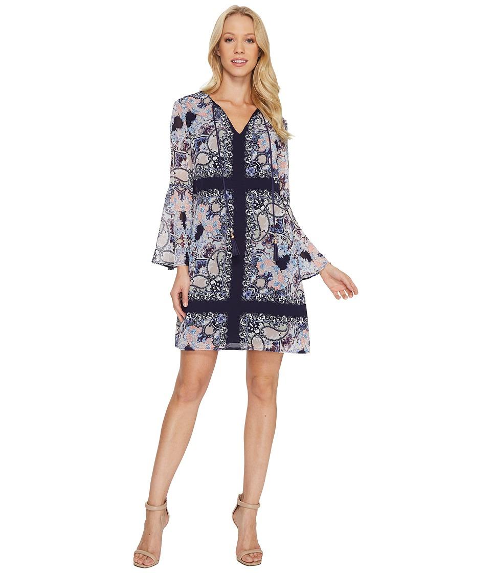 Vince Camuto - Printed Chiffon Shift Dress w/ Bell Sleeve (Navy Multi) Women's Dress