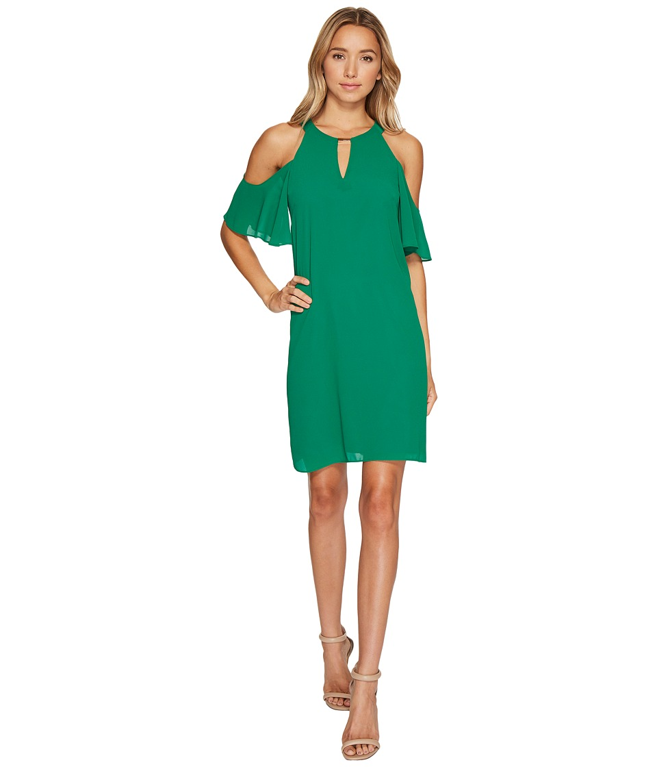 Vince Camuto - Chiffon Cold Shoulder Float Dress (Green) Women's Dress