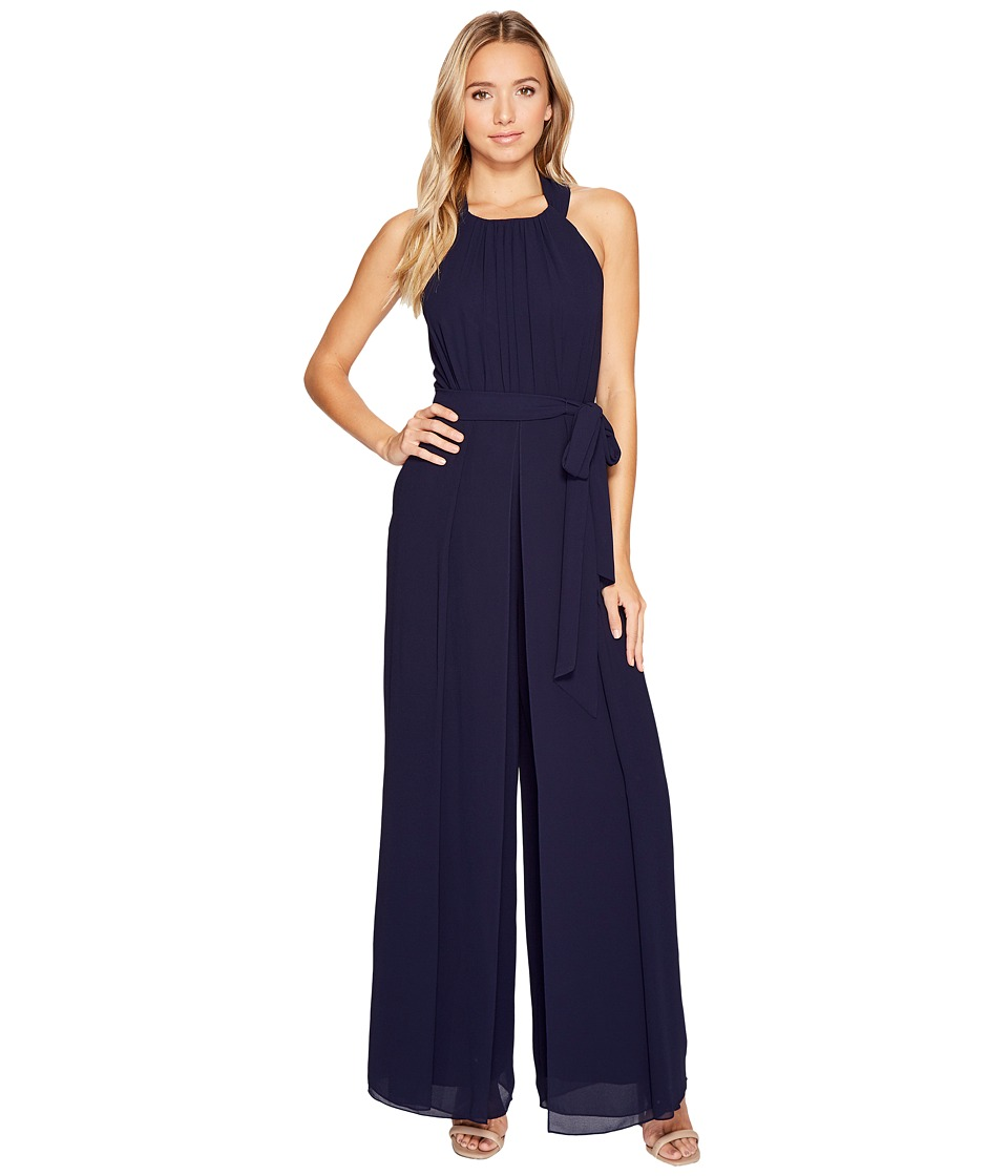 Vince Camuto - Chiffon Halter Wide Leg Jumpsuit w/ Sash (Navy) Women's Jumpsuit & Rompers One Piece