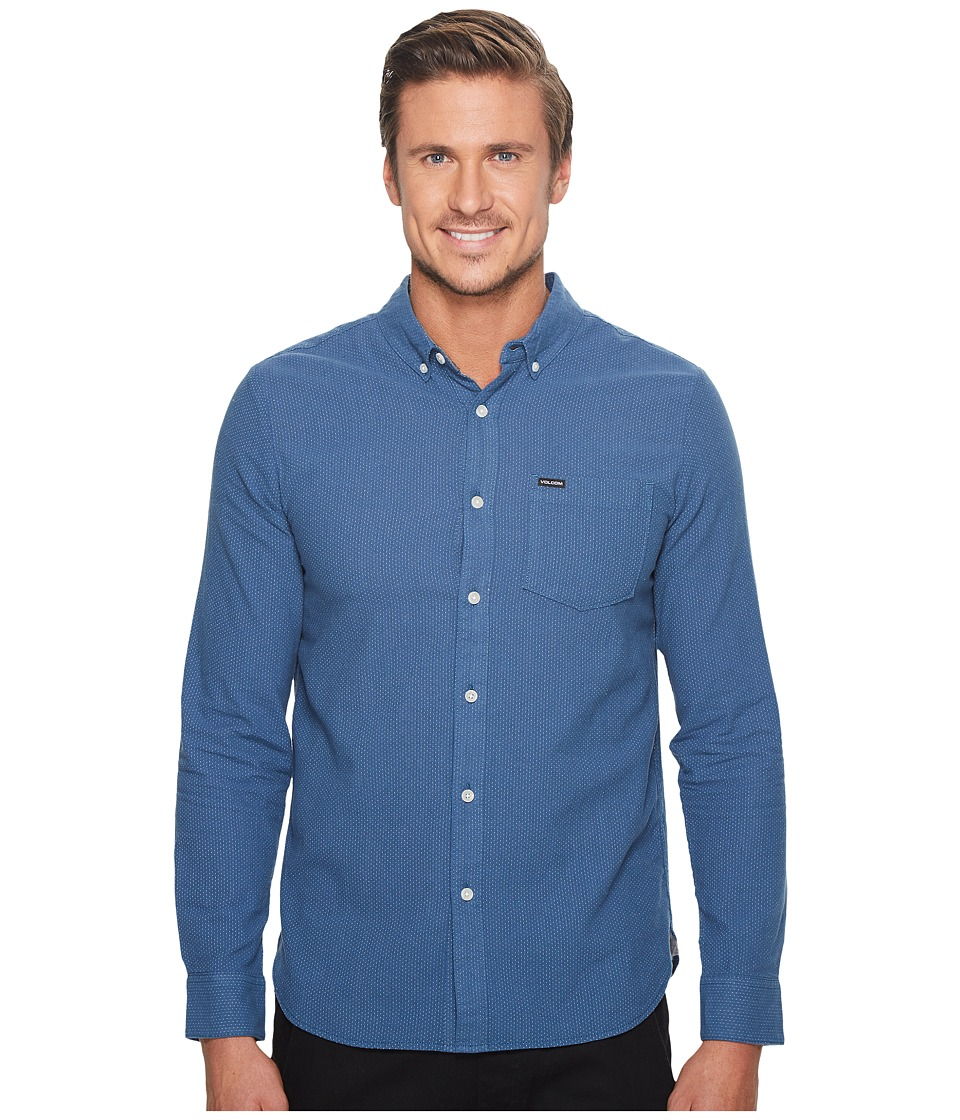 Volcom - Micro Dot Long Sleeve Woven (Smokey Blue) Men's Clothing