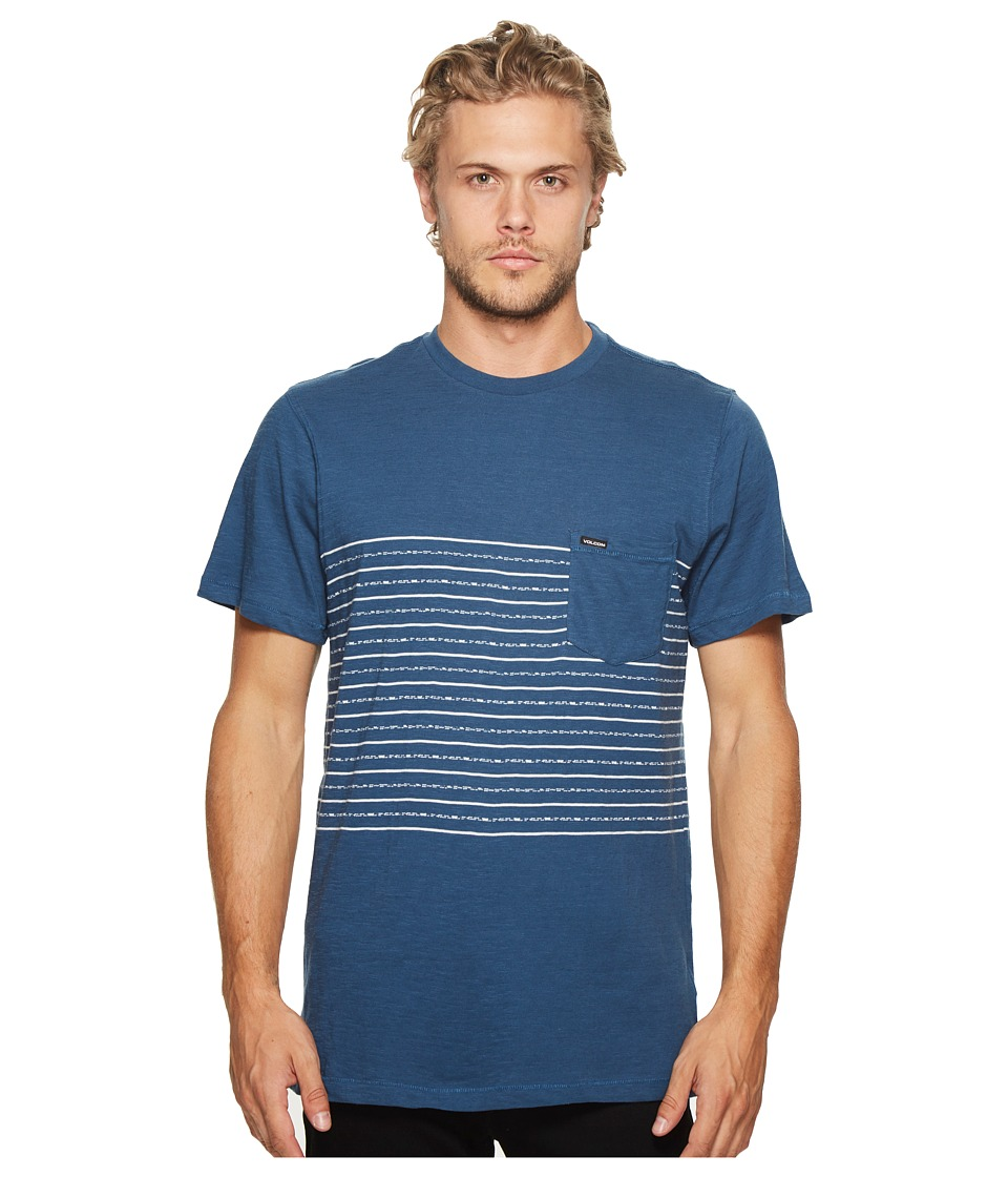 Volcom - Threezy Crew Tee (Smokey Blue) Men's Clothing