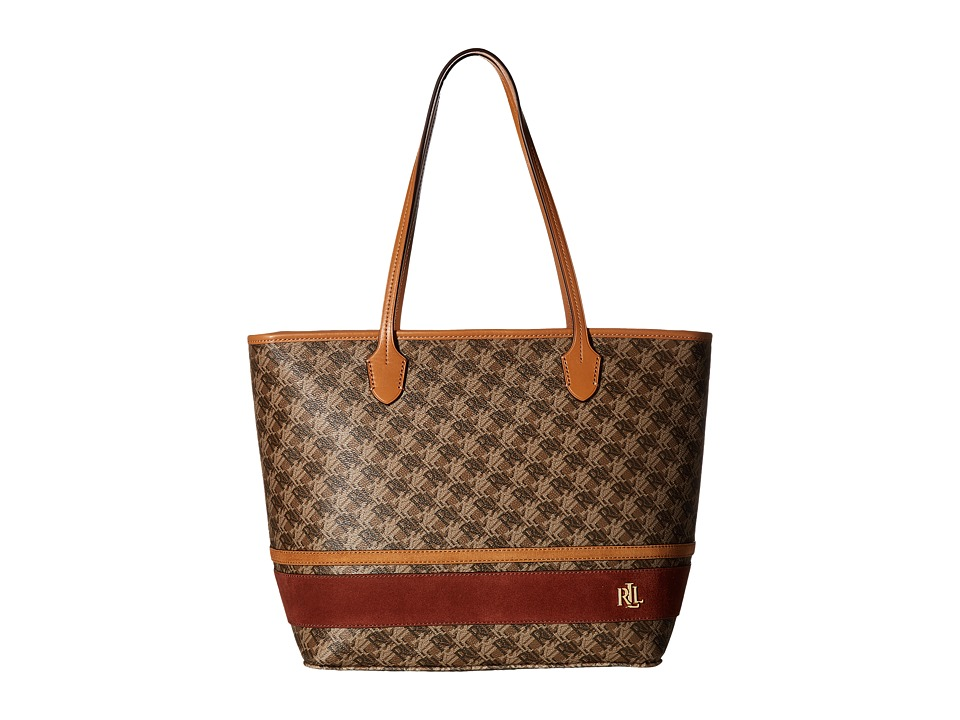 LAUREN Ralph Lauren - Dobson Ashley Tote (Brown/Auburn/Caramel Stripe) Tote Handbags