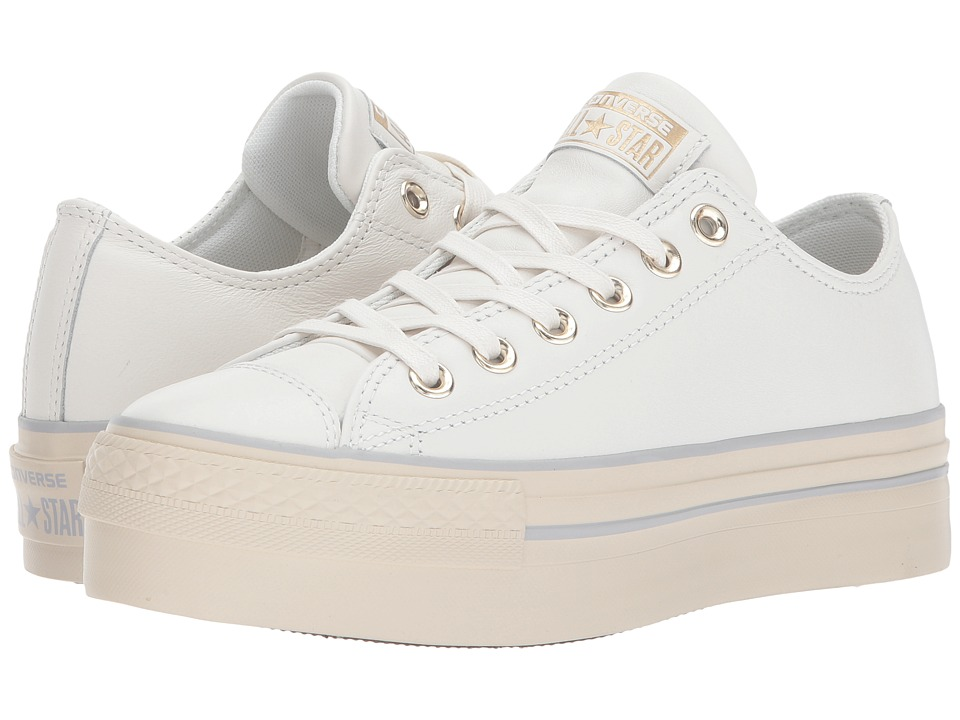 Converse Chuck Taylor(r) All Star(r) Platform Leather Ox (Star White/Light Gold/Turtledove) Women