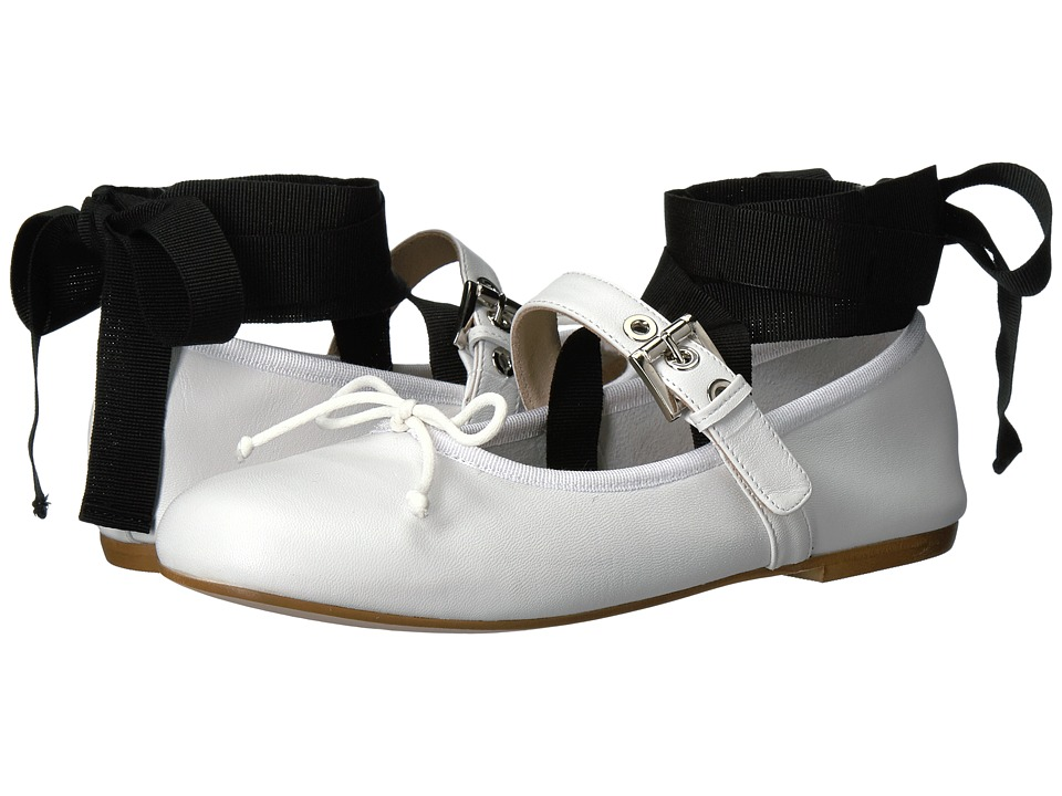 Massimo Matteo - Ballerina with Strap (White) Women's Slip on Shoes