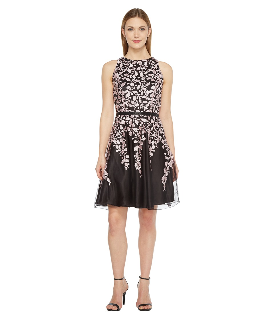 Tahari by ASL Embroidered Mesh Fit and Flare Dress (Black/Blush) Women
