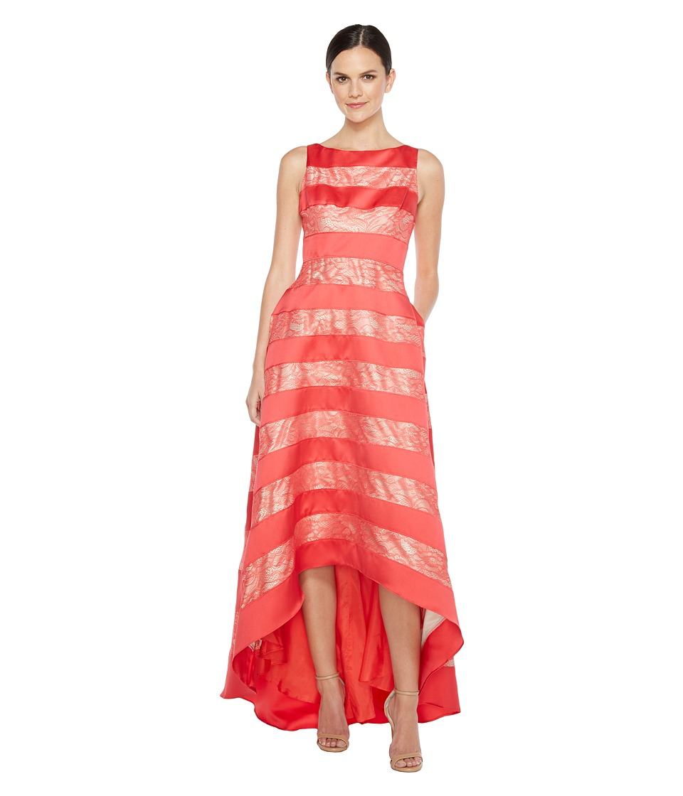 Adrianna Papell - Striped Lace Mikado Hi-low Dress (Hot Tomato) Women's Dress
