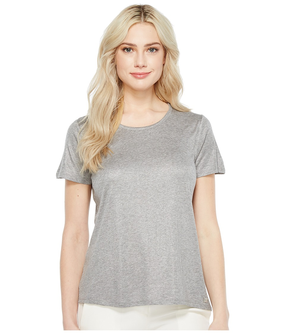 Ivanka Trump - Knit Crew Neck Tee (Silver/Heather Grey) Women's T Shirt