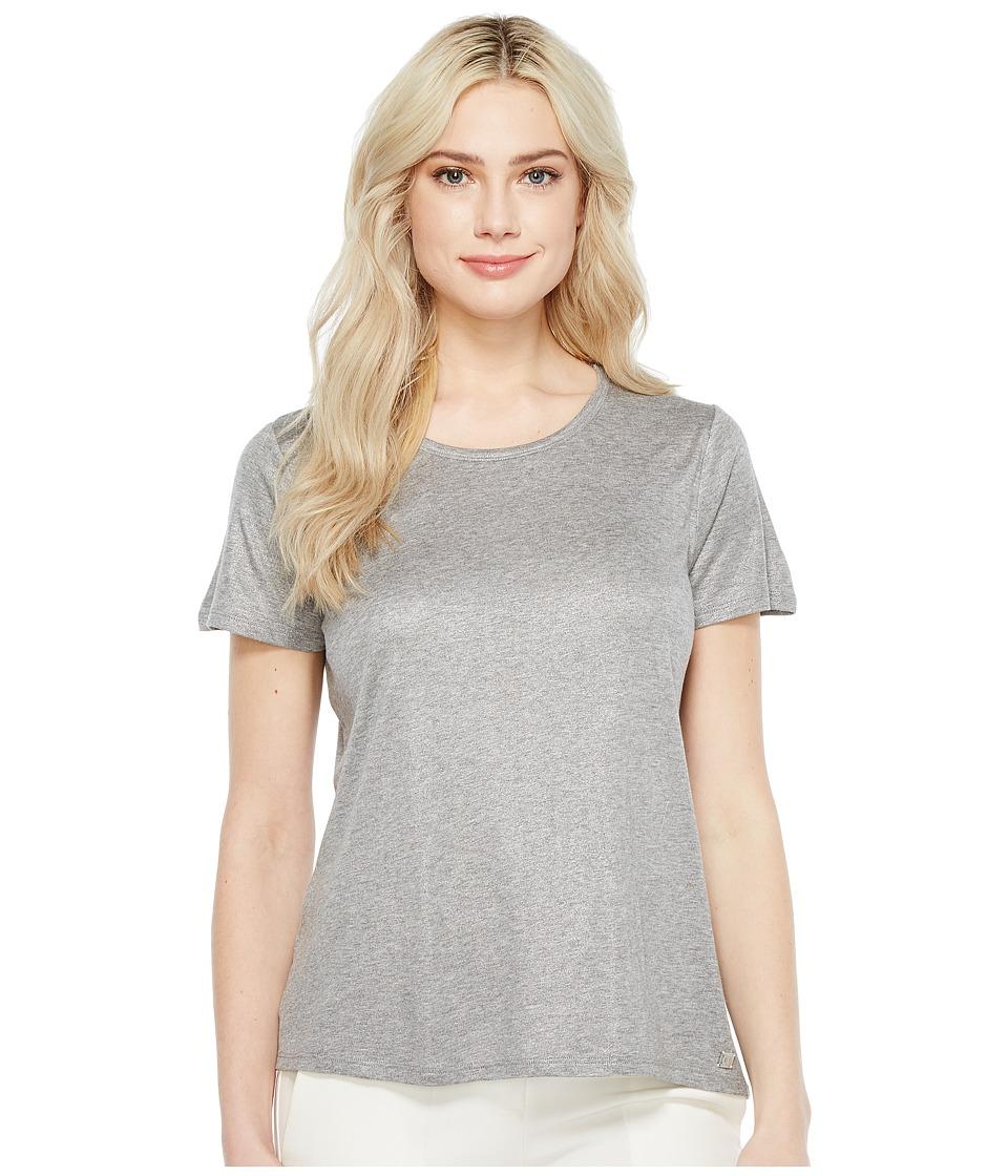 Ivanka Trump - Knit Crew Neck Tee (Silver/Heather Grey) Women's T Shirt