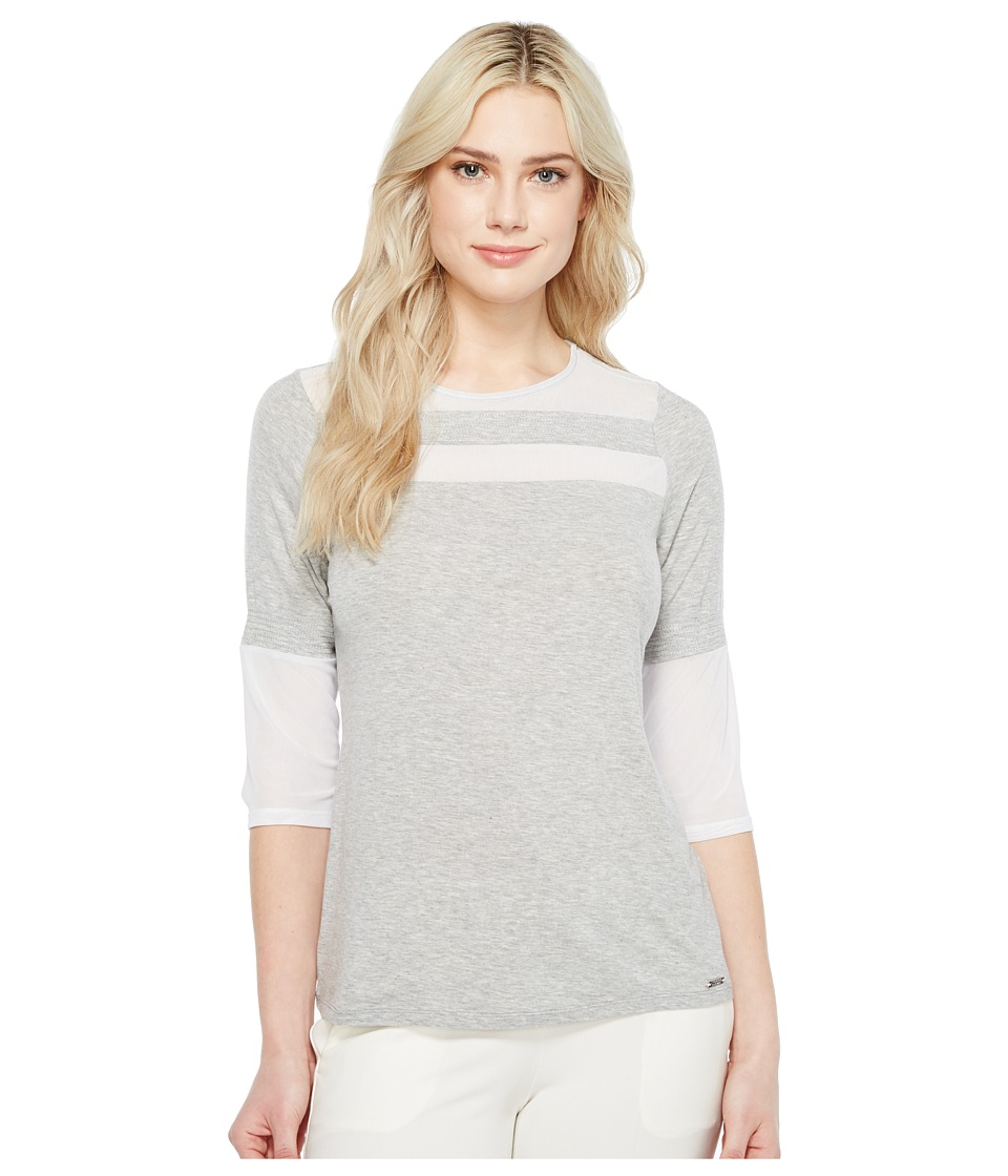 Ivanka Trump - Knit Crew Neck Elbow Sleeve Tee (Heather Grey/White) Women's T Shirt