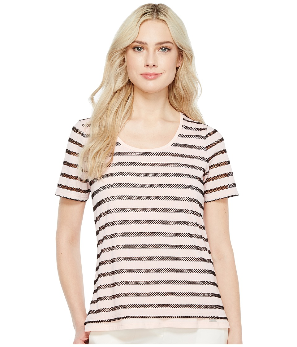 Ivanka Trump - Stripe Knit Short Sleeve Tee (Blush/Black) Women's T Shirt