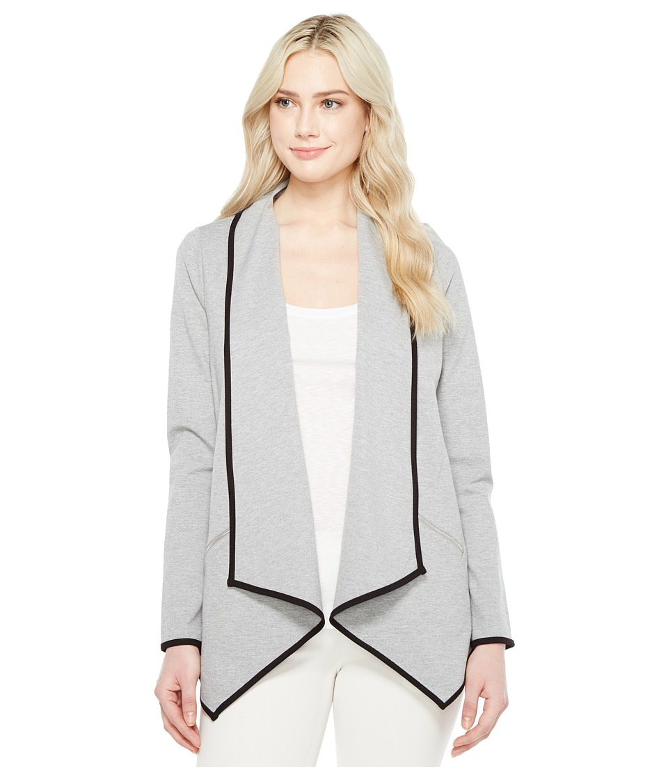 Ivanka Trump Ponte Fly Away Cardigain w/ Piping (Heather Grey/Black) Women